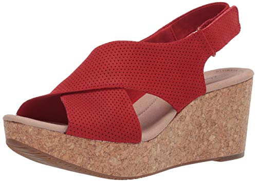 Clarks Women's Annadel Parker Wedge Sandal, Red Suede, 9.0 M US
