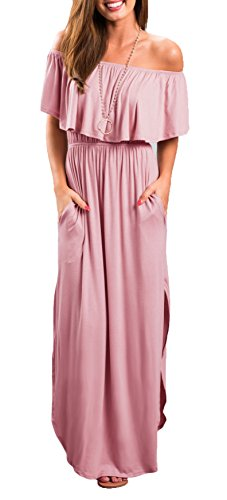 Womens Off The Shoulder Ruffle Party Dresses Side Split Beach Maxi Dress Pink L