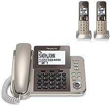 صفحه نمایش پاناسونیک KX-TGF352N 1.9GHz DECT 6.0 فناوری 3.4 اینچ LCD قابل ارتقا تا 6 گوشی تلفن همراه بی سیم- 3 تلفن (تمدید شده)