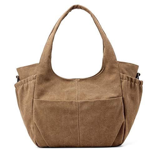 SUNXK 2020 new Ms. shoulder bag tide wild simple solid color large-capacity high-capacity portable canvas bag Korean version (Color : Coffee, Size : 29X30X12CM)