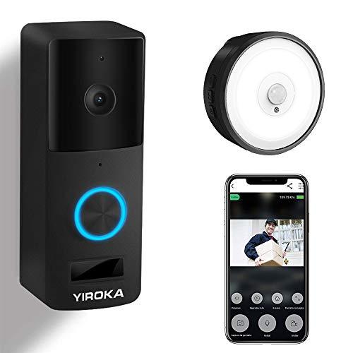 Video Türklingel mit Kamera, YIROKA WLAN Türklingel, Samsung 18650 Akku, 2,4G WiFi Gegensprechanlage, mit Bewegungsmelder, IP65 Wasserdichte, 1080P HD, mit LED Nachtlicht Empfänger, Schwarz