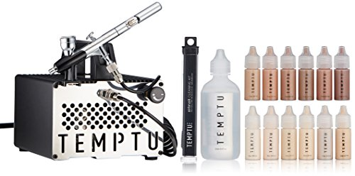 TEMPTU S-One Premier Airbrush Kit: Advanced Airbrush Makeup Set for Professionals | Includes S/B Silicone-Based Foundation Starter Set and Airbrush Cleaning Kit | For Face & Body