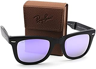 Ray-Ban RB4105 601S4K Wayfarer Folding Matte Black Frame / Lilac Mirror Lens 50mm.