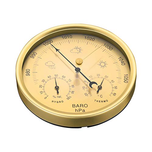 Yardwe 3 in 1 Barometer Weather Station for Indoor and Outdoor use Barometer Thermometer Hygrometer with stainless steel frame (Yellow)