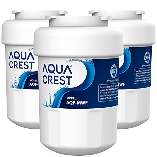 AQUA CREST MWF Refrigerator Water Filter, Replacement for GE Smart Water MWF, MWFINT, MWFP, MWFA, GWF, HDX FMG-1, GSE25GSHECSS, WFC1201, RWF1060, Kenmore 9991, Pack of 3 (Packing May Vary)