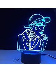 Lil Peep Amerikaanse Rapper 3D Led Nachtlampje voor Huisdecoratie Kleurrijke Celebrity Verjaardagsfeestje Nachtlampje Cadeau voor Fans