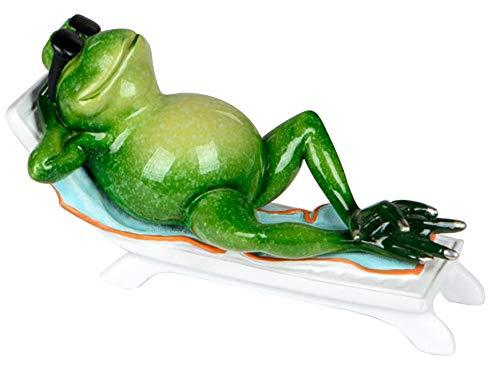 dekojohnson Deko-Frosch-Figur lustiger Frosch im Urlaub mit Sonnenbrille Zierfigur Trendige Dekoration witzig 18cm groß