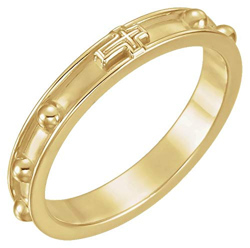 14K Yellow Gold Rosary Ring With Raised Borders - Size 6