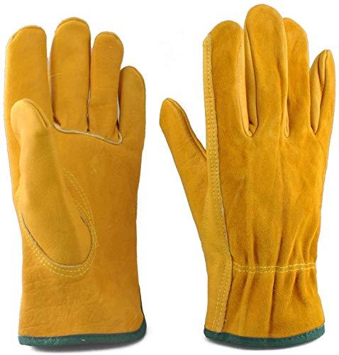 EINSKEY Gartenhandschuhe Herren Damen Dornenfest Rosen Handschuhe Leder Arbeitshandschuhe Montagehandschuhe (Zwei Paaren)