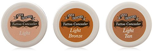 Tatjacket Tattoo Cover Up Liquid Concealer makeup, Dry Setting, Smudge Free, For Tattoos, Scars, Rosacia, Age Spots, Pimples, and All Skin Blemishes LIGHT TONE 3-JAR ASSORTMENT