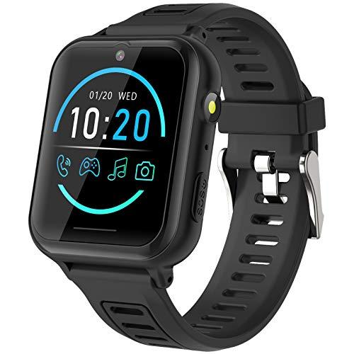 Smartwatch Bambini - Smartwatch Telefono per Bambini con SOS 14 Giochi Musica Fotocamera Cronometro Sveglia Calcolatrice Calendario Torcia, Regali per Ragazzi e Ragazze 4-12 Anni (Nero)