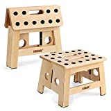 Jiodux Upgrade Version Foldable Wooden Stool Handmade Wood Step Stool 8'(H)- Foot Stool for Kitchen Bedroom Living Room Office or Garden