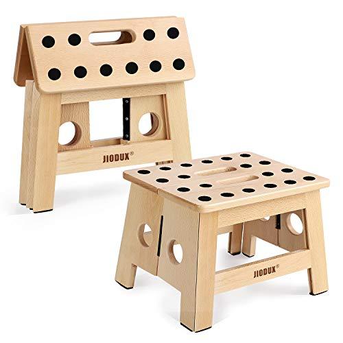 Jiodux 2020 - Taburete de madera para escalones (antideslizante, plegable, para niños, taburete de madera, perfecto para cocinas, dormitorios, habitaciones de niños