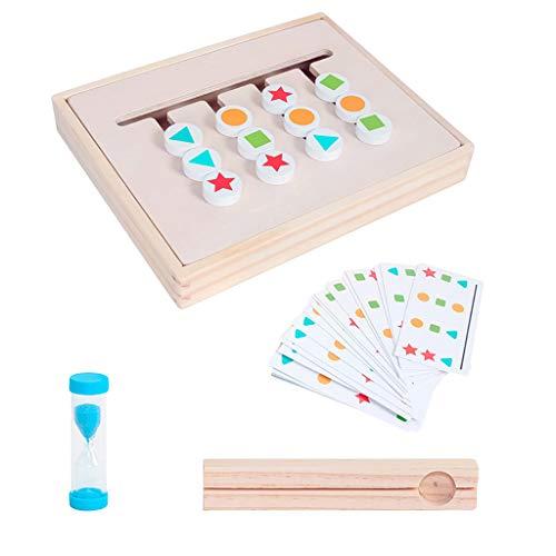 Bascar Puzzle de madera con animales, juego de interacción intelectual para niños de doble cara