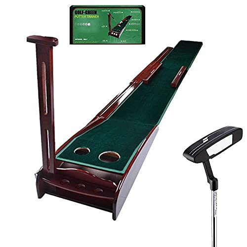 WBJLG Solid Wood Golf Putting Mats, 300 30cm Golf Mat, Showing The Ball Trajectory, with Auxiliary Ruler, Automatic Ball Return, Ortable Indoor Office and Outdoor Golf Practice Mat
