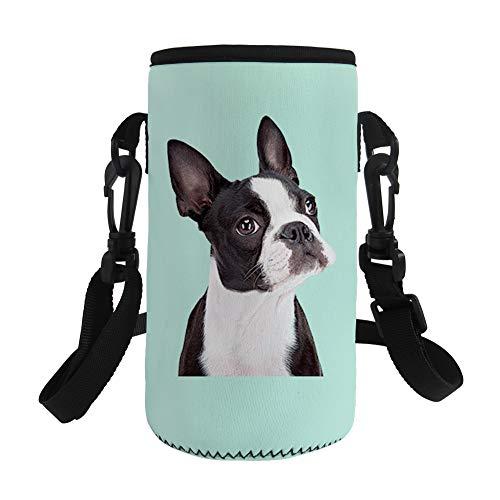 Nopersonality Botellas de agua de neopreno con diseño de animales, con funda aislada, para adolescentes, niños y mujeres (Boston Terrier)