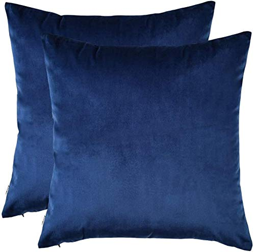 Set of 2 Cozy Solid Velvet Throw Pillow Case Decorative Couch Cushion Cover Soft Sofa Euro Sham with Zipper Hidden-14' x 14', 2-Pack_Royal Blue