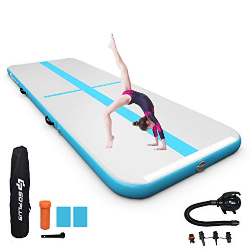 Goplus Inflatable Gymnastic Mat, 10ft/13ft/15ft/16.4ft with Electric Pump, Portable Air Floor Track for Practice Gymnastics Yoga Cheerleading Beach Park Water Home and School Use