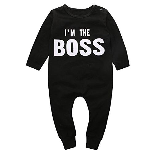 Luckylife Baby Kleidung Overall Neugeboren Lange Ärmel Jungen I 'm The Boss Bedruckt Schwarz Niedlich Schlafanzug Romper Frühling Herbst (0-6 Monate, Schwarz)