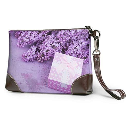 Hdadwy Armband Handtasche Blumenstrauß Flieder Geschenk Geschenkbox Flieder Leder Armband Clutch Brieftasche Für Frauen Damen Geldbörsen Smartphone Wristlet Geldbörse