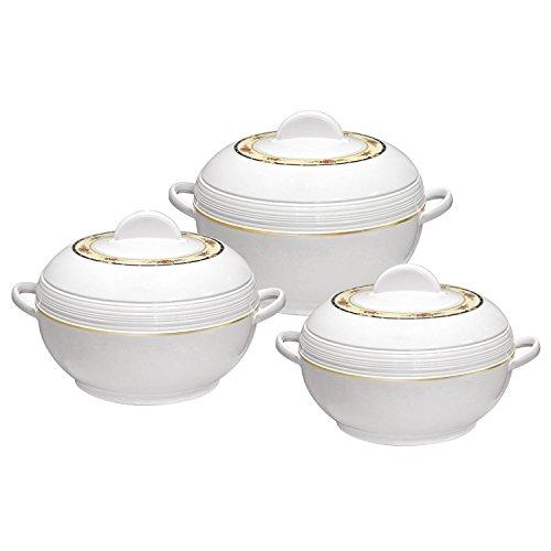 3 teilig Ambiente Kasserolle Set Isoliert Speisenwärmer Rund Thermo Hotpot 3 größen - Weiß