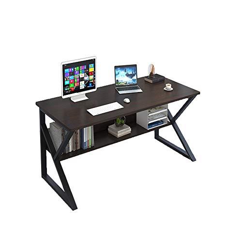 Plasaig - Escritorio compacto, robusto e impermeable para ordenador, con repisa, de madera, para espacios pequeños, con las patas con forma de K, de 100 x 48 x 72 cm
