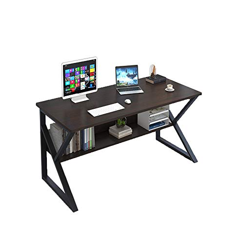 Plasaig - Escritorio compacto impermeable para computadora con caseta de madera, para espacios pequeños, patas de mesa en forma de K, escritorio de oficina de 100 x 48 x 72 cm (nogal negro)