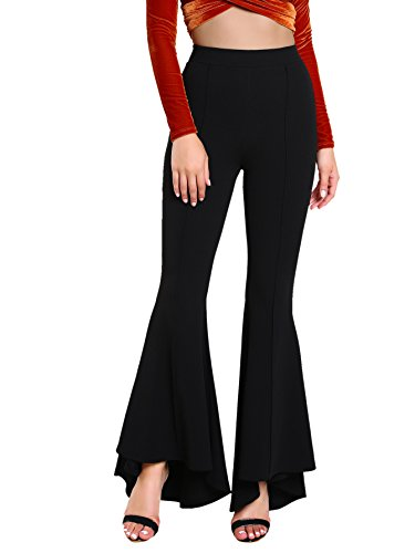 MakeMeChic Women's Elastic Waist Solid Flare Pants Stretchy Bell Bottom Trousers Black L