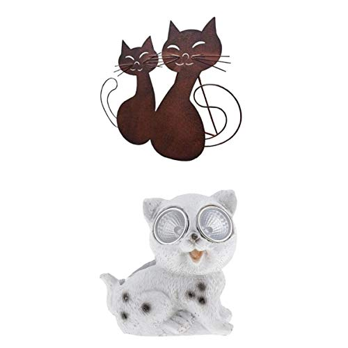 prasku Katzenförmige Dekorationen Katzenfigur Aus Metall Und Solarbetriebene Harzkatzengartenlampe