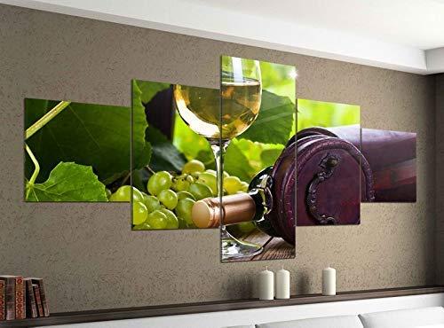 Acrylglasbilder 5 Teilig 200x100cm Wein Glas Weißwein Flasche Garten Trauben Druck Acrylbild Acryl Acrylglas Bilder Bild 14F555