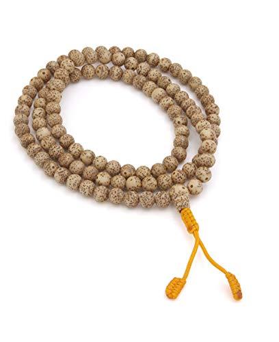 Buddha Groove Handmade 108 Lotus Seed Meditation Mala with Additional Guru Bead | Meditation Yoga Jewelry | 7 mm Beads