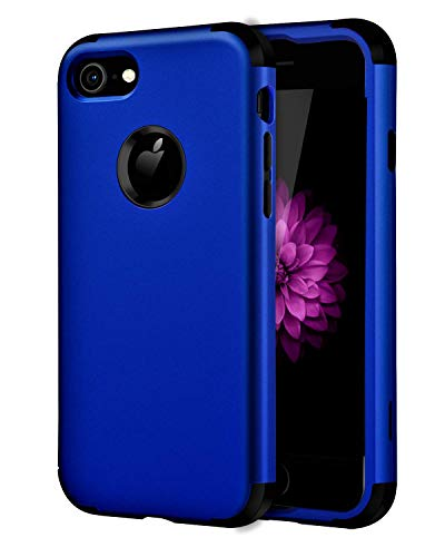 YINLAI iPhone 7 Case/iPhone 8 Case, Navy Blue 3 in 1 Heavy Duty Shockproof Protective Bumper Soft Silicone Hybird PC Durable Sturdy 3 Layers Phone Cover for iPhone 7/iPhone 8 4.7 Inch, Navy Blue