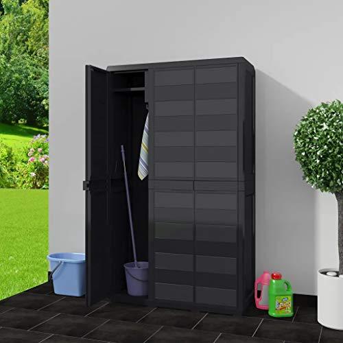 Cikonielf Waterdichte kast voor buiten, tuinkast, met verstelbare deuren en planken, geventileerd, balkonkast van PP (97 x 38 x 171 cm, zwart)