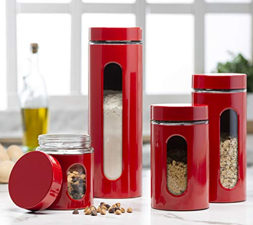 Quality Modern Red Stainless Steel Canister Set for Kitchen Counter with Glass Window & Airtight Lid - Food Storage Containers with Lids Airtight - Pantry Storage and Organization Set