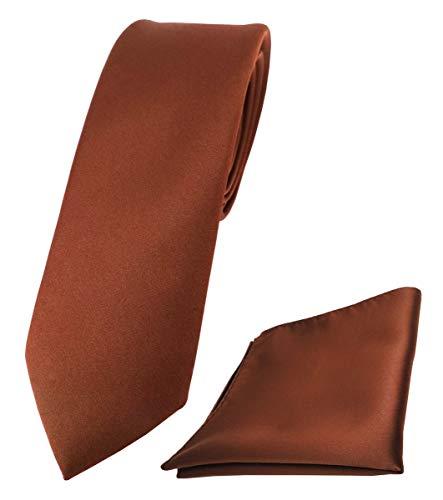 TigerTie - schmale Designer Krawatte Einstecktuch in braun rot rotbraun einfarbig uni
