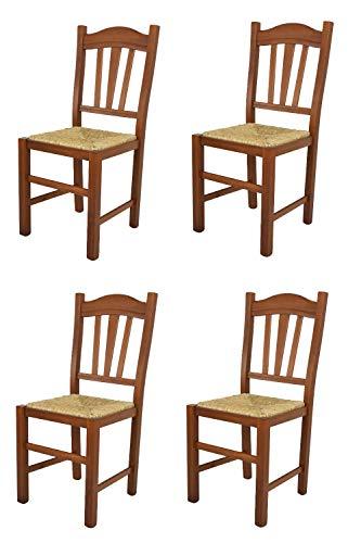 Tommychairs - Set 4 sedie modello Silvana per cucina bar e sala da pranzo, robusta struttura in legno di faggio color noce chiaro e seduta in paglia