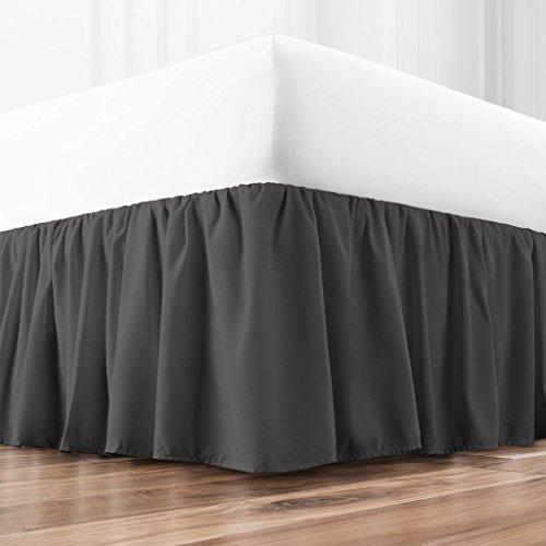 Zen Home Luxury Ruffled Bed Skirt - 1500 Series Luxury Brushed Microfiber w/Bamboo Blend Treatment - Eco-Friendly Dust Ruffle w/ 15 Drop - Cal King - Gray
