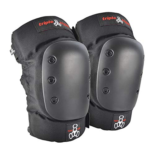 Triple Eight KP 22 Heavy-Duty Skateboarding Knee Pads (Pair), Medium, 6081, Black