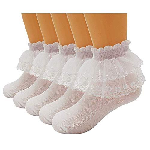 Sensail Chaussettes mélangées en coton pour bébés Baby Girl pour femmes Chaussettes respirantes en maille en dentelle de couleur unie pour enfants Chaussettes de baptême Chaussettes de princesse