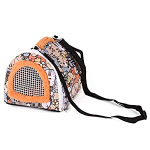 Portable Small Animals Carrier Bag, Rats Sugar Glider Small Guinea Pig Rat Chinchillas Hamster Hedgehog Carrier Pouch Bag for Outdoor Travel, Breathable Hanging Tote Bag with Detachable Strap Zipper