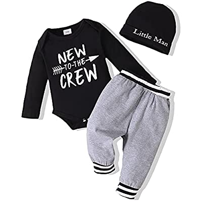 Baby Boy Clothes Newborn Boy Outfits Set New to The Crew Outfits Baby Boy Clothes 0-3 Months Gray by
