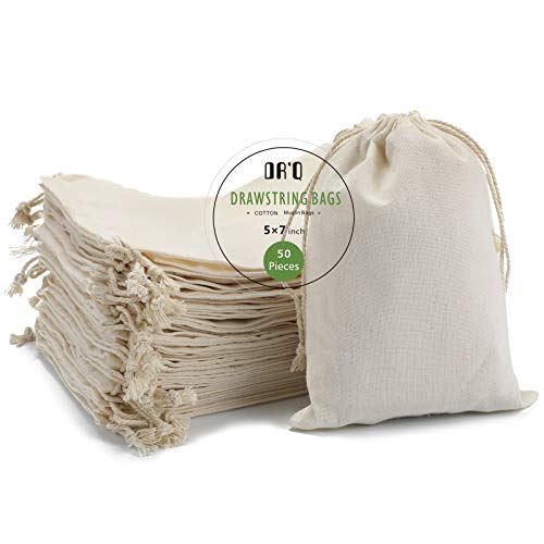 Cotton Drawstring Bags, EcoFriendly Muslin Bags (5 by 7 inch) Gift...