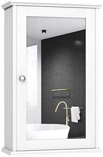RELAX4LIFE Spiegelschrank Bad, Badschrank mit Spiegel, Badezimmerschrank Weiß, Badezimmerspiegel, Hängeschrank Bad, Badmöbel, Badezimmerspiegelschrank, MDF, 34 x 15 x 53 cm
