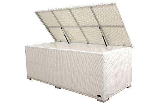 Outflexx Kissenbox, Polyrattan, weiß, 204 x 94 x 75 cm