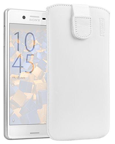mumbi Echt Ledertasche kompatibel mit Sony Xperia X Performance Hülle Leder Tasche Case Wallet, Weiss