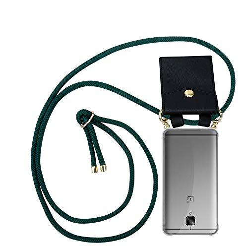 Cadorabo Handy Kette für OnePlus 3 / 3T in Armee GRÜN - Silikon Necklace Umhänge Hülle mit Gold Ringen, Kordel Band Schnur und abnehmbarem Etui – Schutzhülle