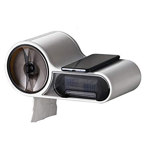 HONG Soporte De Papel Higiénico para Montar En La Pared, Material ABS con El Teléfono Móvil Estante De Almacenamiento para Baño Estilo Retro Vintage