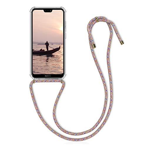 kwmobile Funda con Cuerda Compatible con Huawei P20 Lite - Carcasa Transparente de TPU con Cuerda para Colgar en el Cuello