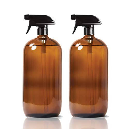 2 Pack Amber Glass Spray Bottles 36oz Brown Round Mist Refillable Container Water Oil Cleaning Liquid Aromatherapy Product Pump (36oz)
