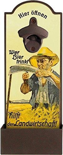 Blechwaren Fabrik Braunschweig GmbH Wandflaschenöffner - WER Bier TRINKT HILFT DER Landwirtschaft - Flaschenöffner für die Wand GRV004